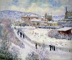 View of Argenteuil in the Snow - Claude Monet.