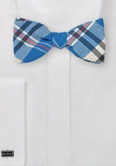 Summer Madras Bow Tie in Blue and Cream | $19.90 on Cheap-Neckties