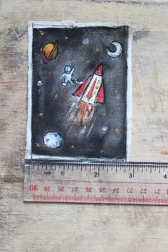 Hand painted Space Scene Patch on Fabric by BecksandChops on Etsy