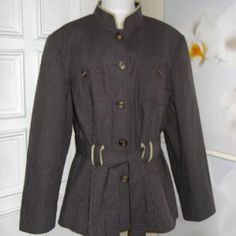 """~EUC~ Apostrophe fully lined belted jacket Excellent used condition! Showing no signs of wear, no flaws. Jacket is well cleaned, ready to wear conditions.... Color has a tint of plum to it maybe but, mostly looks brown/tan to my eyes. Fully lined with sleeves having the silky material, 2 extra button still attached.  Armpit to armpit 23"""" Shoulder to bottom hem line 27""""  If you need any other measurements or have any questions feel free to ask. Coming from a smoke free home  ~ offers are…"""