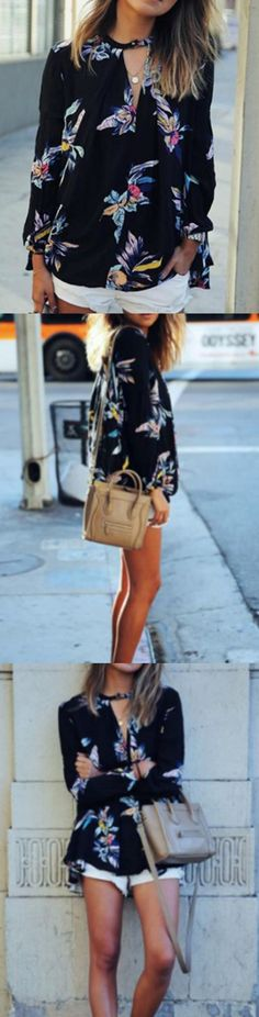 Long Sleeve Floral Print Blouse! Click The Image To Buy It Now or Tag Someone You Want To Buy This For. #PrintedBlouse