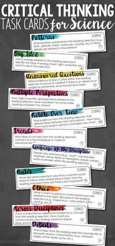 Add depth and complexity to your instruction with these Critical Thinking Science Task Cards! 88 task cards that can be used with any textbook and with any topic of science. You will be blown away by the discussions your students will have! 7th Grade Science, Middle School Science, Elementary Science, Science Classroom, Teaching Science, Science Education, Teaching Ideas, Science Resources, Science Lessons