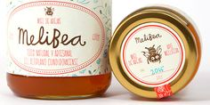 I love the cute and silly bee logo on Melibea's honey labels. Illustration by Bena Lándinez.