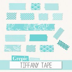 Digital Washi Tape TIFFANY TAPE washi tape bright blue by Grepic #tiffany #tape #washitape #digital #blue #turquoise #scrapbooking