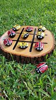Lady Bug and Bee Tic-Tac-Toe. Hand painted rocks on kilned wood slice. Great for outdoor fun!