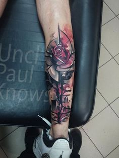 Grey and pink watercolour rose tattoo. Photo from www.facebook.com/unclpaulknows.