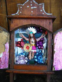 Antique Mexican Nicho Altar Shrine Folk Art