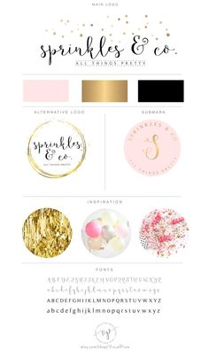 Branding Package Gold Confetti Logo Lifestyle Blog by VisualPixie