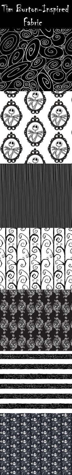 There is an impressive collection of Burton-esque fabric available on Spoonflower.com, perfect for a Halloween Party inspired by the genius of Tim Burton -- or, perfect for year-round!