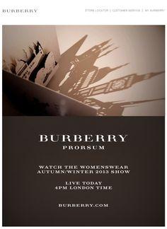Web Graphic Design. Newsletter Inspirational. Fashion. Burberry. Luxury.