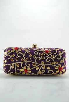 Purple Gotta Patti Clutch Embellished Purses, Trendy Handbags, Bridal Clutch, Coin Bag, Clutch Purse, Evening Bags, Sunglasses Case, Zip Around Wallet, Chain