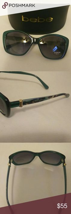 Bebe Women's Sunglasses Bebe Women's Sunglasses, Dark Green with gold end pieces. Includes hard case. new, never worn. bebe Accessories Sunglasses