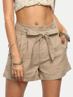 Khaki Tie Waist Pocket Casual Shorts
