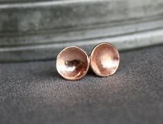 Solid 14K recycled rose gold stud earrings - the teensy cups