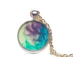 """Necklace, Handcrafted, OOAK, """"Mystic"""", Free shipping, Aqua, Blue, Purple, Green, Multi-color, Round pendant, Gift for her - pinned by pin4etsy.com"""