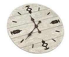 Reloj de madera de abeto y polirresina – blanco roto