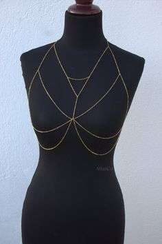 Free shipping  Gold Bra  Bralette Chain  by NightingaleWorkshop