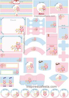 Etiquetas y fondos Baby Shower Printables, Party Printables, Imprimibles Baby Shower, Baby Girl Clipart, Diy And Crafts, Paper Crafts, Bird Party, Baby Shawer, Freebies