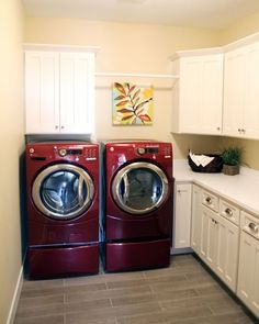 Mid Red Merlot Samsung Front Load Washer And Dryer Wood