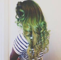 Curly green hair