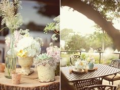 ummm flowers on little logs! love!