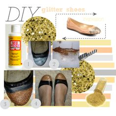 DIY glitter shoes by zoenian on Polyvore