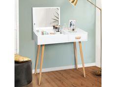 Coiffeuse scandinave lisa miroir rabattable - Vente de ID MARKET - Conforama Office Desk, Ikea, New Homes, Interior, Furniture, Home Decor, Console, Place, Juliette