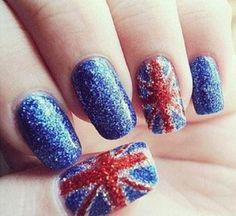 Union Jack nails in glitter Uk Nails, Love Nails, Pretty Nails, Hair And Nails, Sexy Nails, Cute Acrylic Nail Designs, Cute Acrylic Nails, Nail Art Designs, Glitter Nails