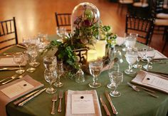 Chateau Bellevue Winter Wedding // Science Wedding // Unique Table Setting with Floral Centerpieces // The Nouveau Romantics // Austin Wedding Planning and Event Design Studio