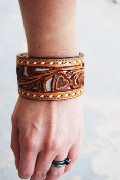 Leather Cuff Bracelet  Recycled Tooled Leather Heart by jessamity