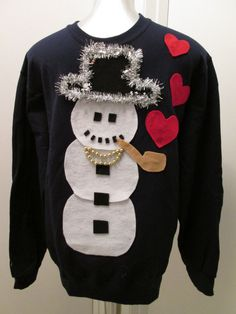 Ugly Christmas Sweater worn by Snoop Dog Snowman Smoking Pipe Any Size Small Medium Large Xlarge Ships in 24 hours using Priority Mail