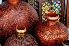 Copper Vases, photo by. Copper Art, Copper Color, Moroccan Decor, Moroccan Style, Vases, Persian Culture, Bronze, Earth Tones, Colored Glass