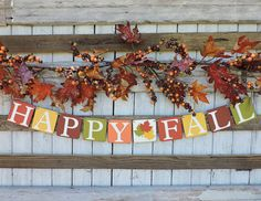 As Seen in HGTV Magazine - Happy Fall Banner - Fall Home Decor - Fall Mantle Decor - Autumn Harvest - Fall Decorating - Fall Colors Fall Mantle Decor, Fall Home Decor, Autumn Home, Autumn Decorations, Fall Mantels, Fall Banner, Fall Garland, Leaf Garland, Hgtv Magazine