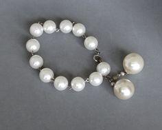 Vintage White Pearl Bead Bracelet Bolero Dangles Silver Links