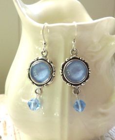 Blue Lovelies - Dangle Earrings - Glass Cabochon and Matching Blue Glass Bead