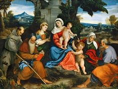 Bonifazio De'pitati - The Holy Family with Saint Francis, Saint Anthony, Mary Magdalen, John the Baptist, and Elizabeth