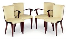 A SET OF TEN ART DECO MAHOGANY AND LEATHER DINING CHAIRS,
