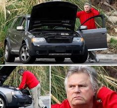 MacGyver is stumped...by a car ...where is the duct tape when you need it.