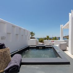 """The view will do the """"talking"""" 💙🌴 as you will be left speechless by the beauty at Mykonos Blanc Hotel! Ornos Beach, Mykonos Hotels, Hotels And Resorts, In This Moment, Luxury, Outdoor Decor, Beauty, Home Decor, Decoration Home"""