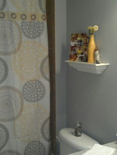 beautiful yellow and gray bathroom| Today Is...
