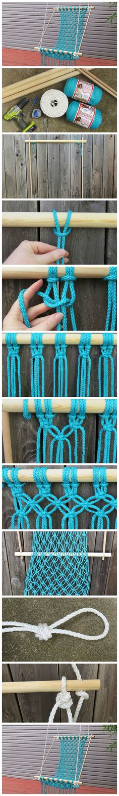 Behov for særligt garn? How To Make A Lovely DIY Macrame Hammock Fun Crafts, Diy And Crafts, Arts And Crafts, Macrame Hanging Chair, Macrame Chairs, Hanging Chairs, Diy Hanging, Hanging Beds, Craft Projects
