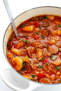 This Jambalaya Soup recipe can be made with shrimp, chicken, Andouille sausage -- or all three! It's easy to make, and so hearty and delicious.