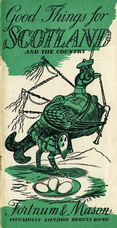 Alovely little bagpipe-playing ptarmigan by Edward Bawden for Fortnum & Mason.
