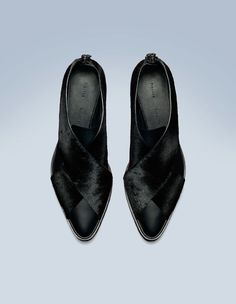 the black pony/leather flat