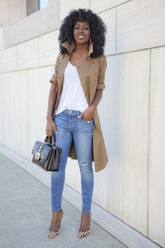 Trench Coat + Tank + Stiletto Jeans