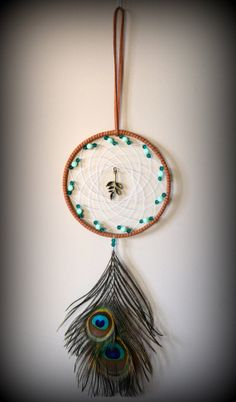4'' Brown Dream Catcher with natural peacock by DreamySummerNights, $10.00
