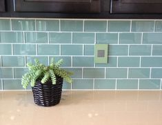 Blue Green Glass Subway Tile Backsplash for Dark Kitchen Cabinets Glass Subway Tile Backsplash, Blue Backsplash, Dark Kitchen Cabinets, Small Kitchens, Tile Floor, Blue Green, Tiles, New Homes, House