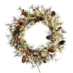 vickerman 30in prelit pine artificial christmas wreath with white lights