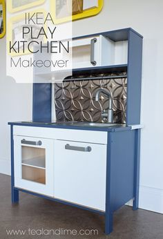 Give your Ikea play kitchen a makeover with paint and a backsplash   tealandlime.com