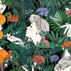 Illustration, woman, tropical leaves and flowers. Art Inspo, Kunst Inspo, Art And Illustration, Mode Collage, Pop Art, L Wallpaper, Magazine Deco, Art Design, Oeuvre D'art